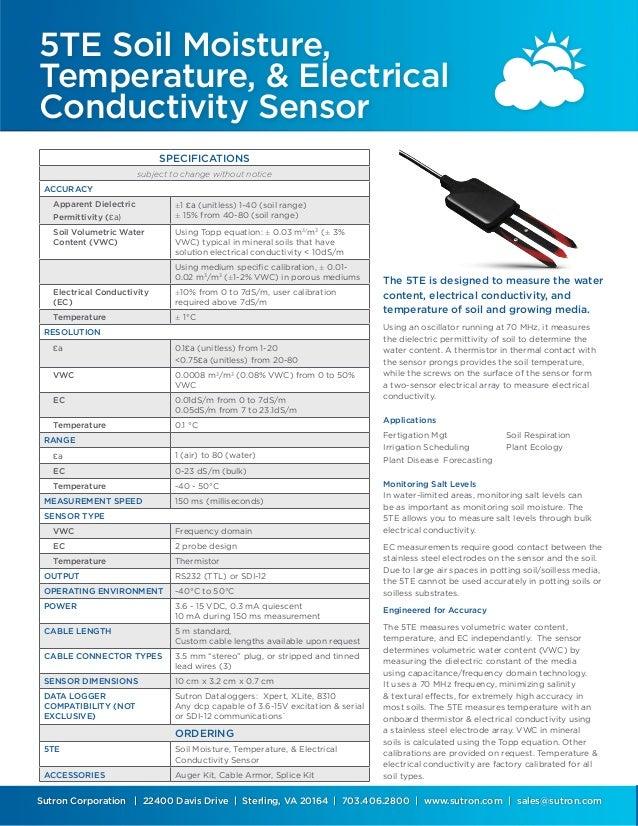 5 te soil moisture temp sensor datasheet