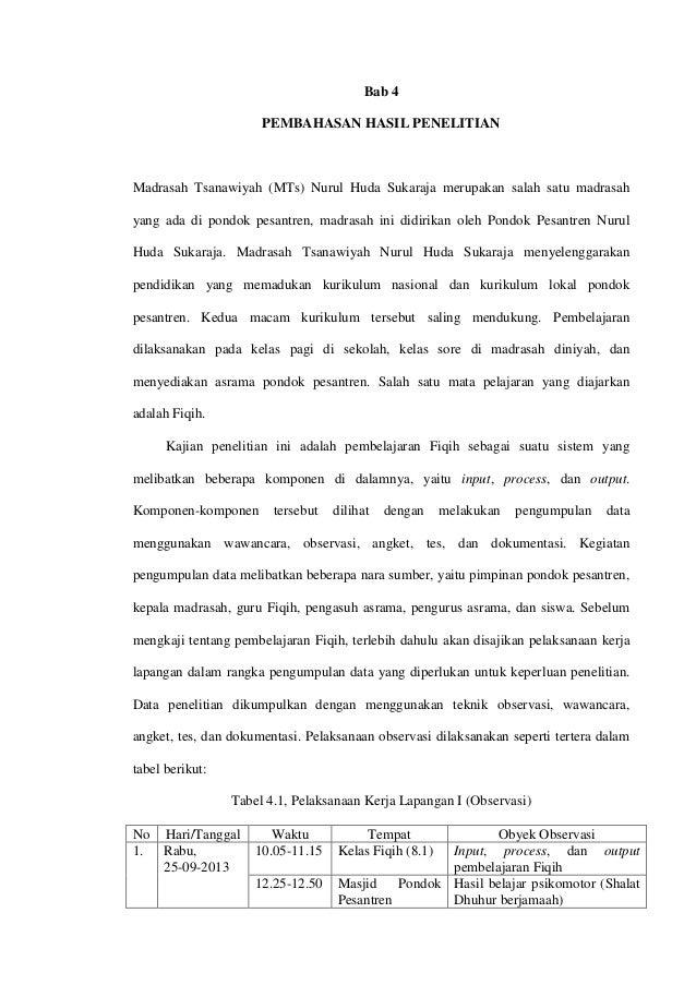 Bab 4 PEMBAHASAN HASIL PENELITIAN Madrasah Tsanawiyah (MTs) Nurul Huda Sukaraja merupakan salah satu madrasah yang ada di ...