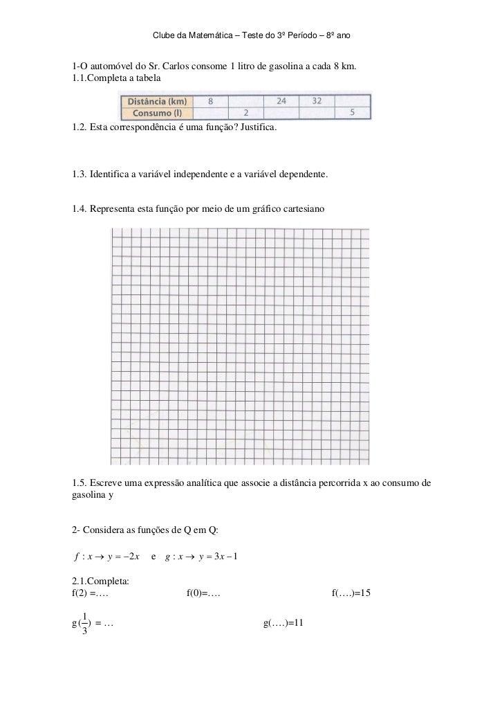 Clube da Matemática – Teste do 3º Período – 8º ano1-O automóvel do Sr. Carlos consome 1 litro de gasolina a cada 8 km.1.1....