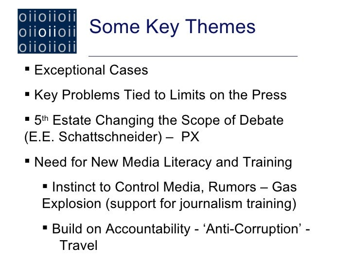 Some Key Themes Exceptional Cases Key Problems Tied to Limits on the Press 5th Estate Changing the Scope of Debate(E.E....