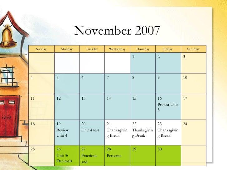 5th Grade Math Calendar2007 2008