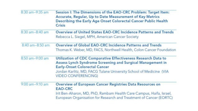 5th annual early age onset colorectal cancer summit session ii