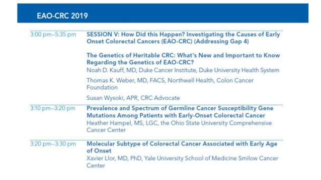 5th Annual Early Age Onset Colorectal Cancer Summit - Session III