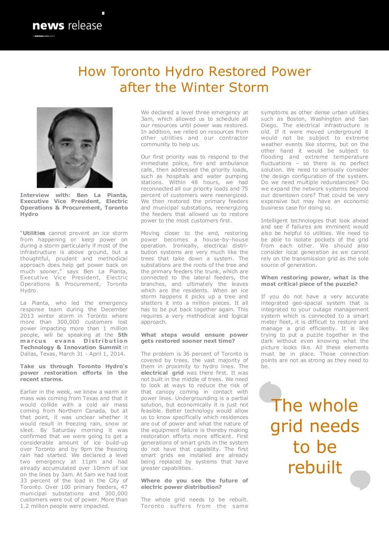 How Toronto Hydro Restored Power after the Winter Storm - Ben La Pianta, Toronto Hydro