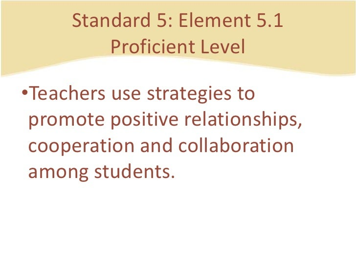 Standard 5: Element 5.1ProficientLevel<br />Teachers use strategies to promote positive relationships, cooperation and col...