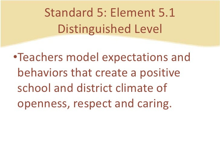 Standard 5: Element 5.1DistinguishedLevel<br />Teachers model expectations and behaviorsthatcreate a positive school and d...