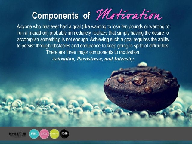 Components of Anyone who has ever had a goal (like wanting to lose ten pounds or wanting to run a marathon) probably immed...