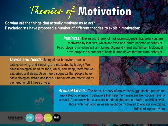 Motivation So what are the things that actually motivate us to act? Psychologists have proposed a number of different theo...