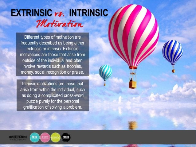 EXTRINSIC INTRINSIC Different types of motivation are frequently described as being either extrinsic or intrinsic. Extrins...