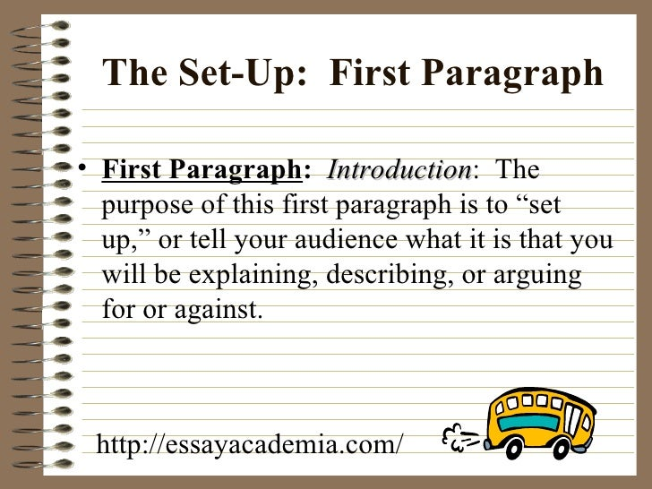 the five paragraph essay  6 the set up first paragraph