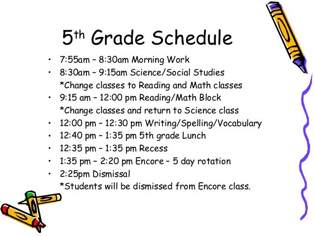 5th Grade Curriculum Night Information 2014-2015