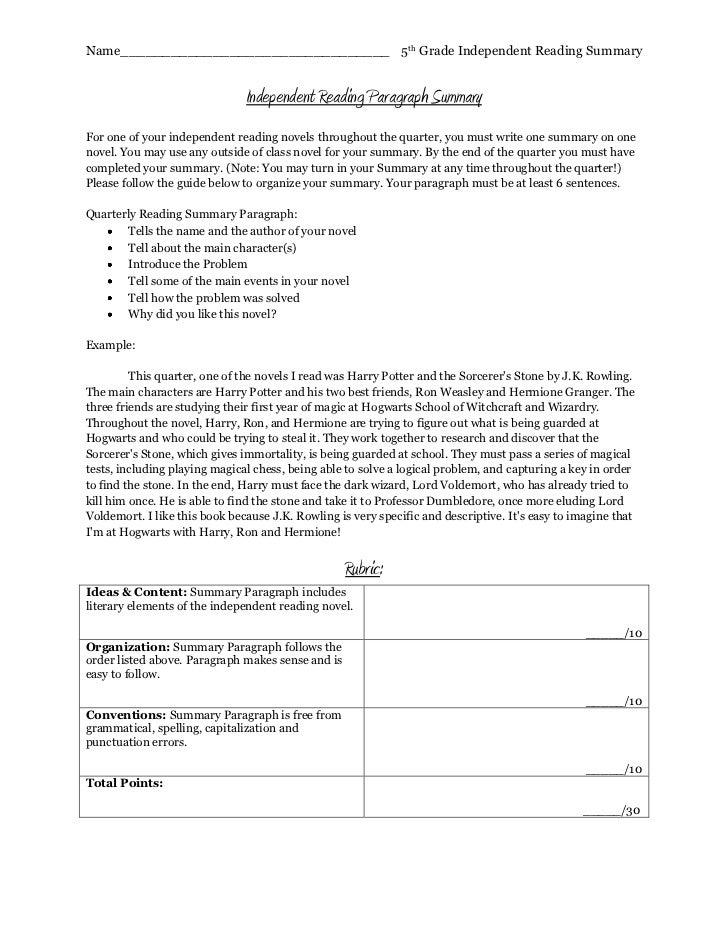 5th grade summary writing samples
