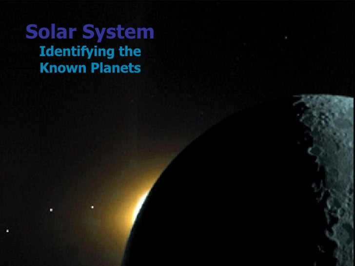 Solar System Identifying the Known Planets