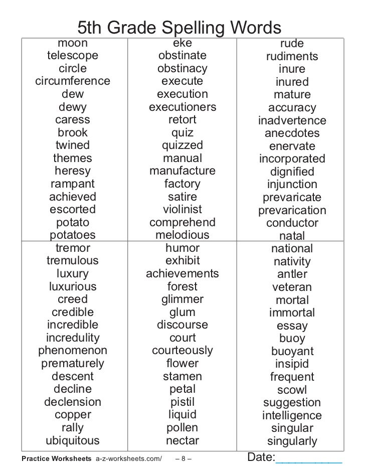 5th Grade Spelling Worksheets : Th grade spelling words list