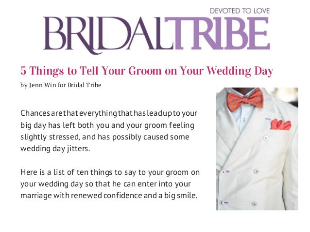 5 things To Tell Your Groom On Your Wedding Day