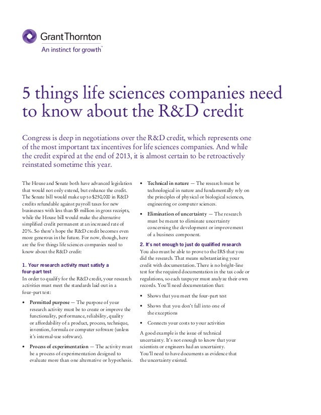5 things life sciences companies need to know about the R&D credit