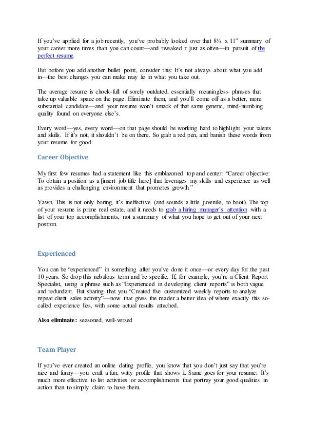 ... Resume By ElizabethLowman,October19,2011; 5.  What Goes In The Summary Of A Resume