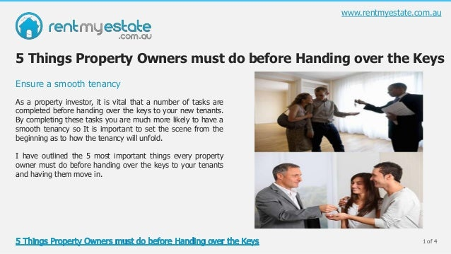1 of 4As a property investor, it is vital that a number of tasks arecompleted before handing over the keys to your new ten...