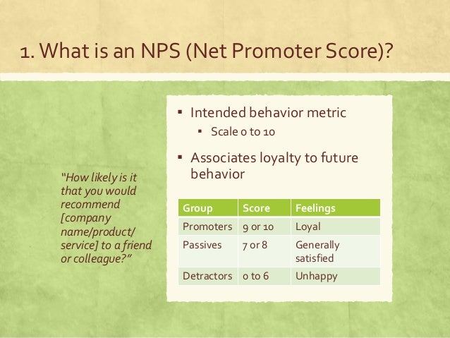 """1.What is an NPS (Net Promoter Score)? """"How likely is it that you would recommend [company name/product/ service] to a fri..."""