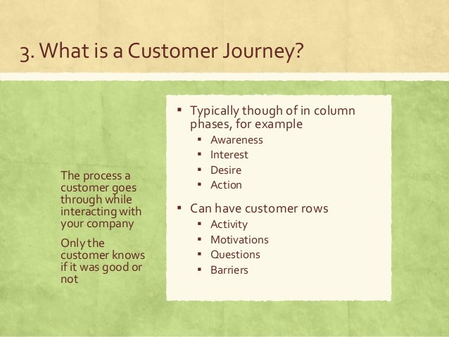 3.What is a Customer Journey? The process a customer goes through while interacting with your company Only the customer kn...