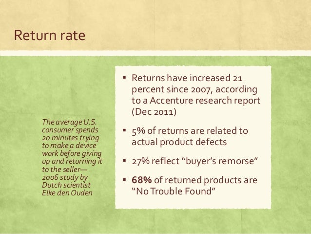 Return rate The average U.S. consumer spends 20 minutes trying to make a device work before giving up and returning it to ...