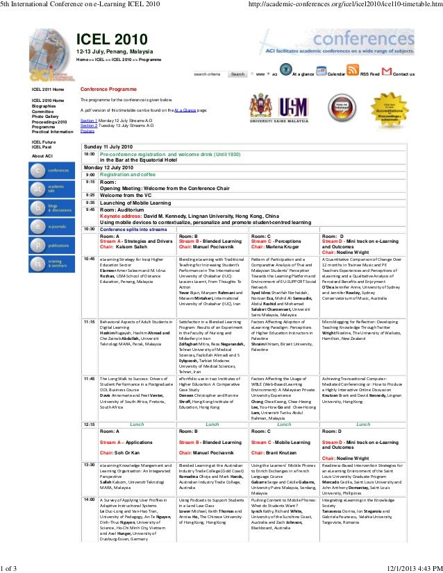 5th International Conference on e-Learning ICEL 2010  http://academic-conferences.org/icel/icel2010/icel10-timetable.htm  ...
