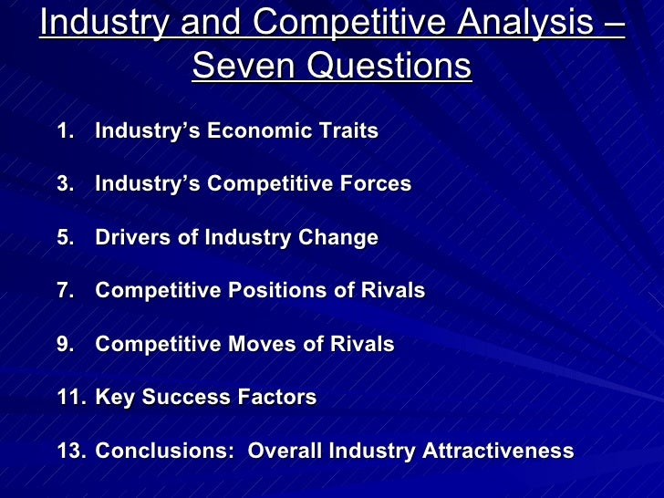 industry competitive analysis The competitive analysis section of your business plan is devoted to analyzing your competition--both your current competition and potential competitors who might enter your market.