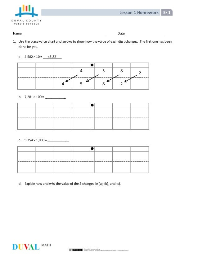 th mathmodule lesson 1 homework 5•1 date 1 use the place value chart and