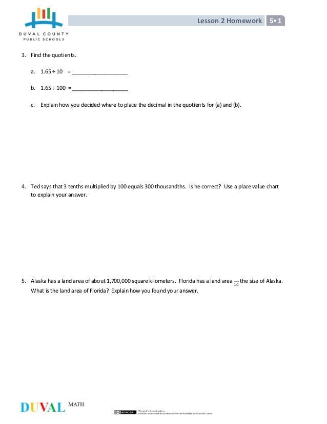 5th Grade Math Lesson 2 Homework Answers - image 8