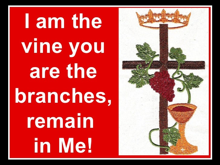 I am the vine you are the branches, remain  in Me!