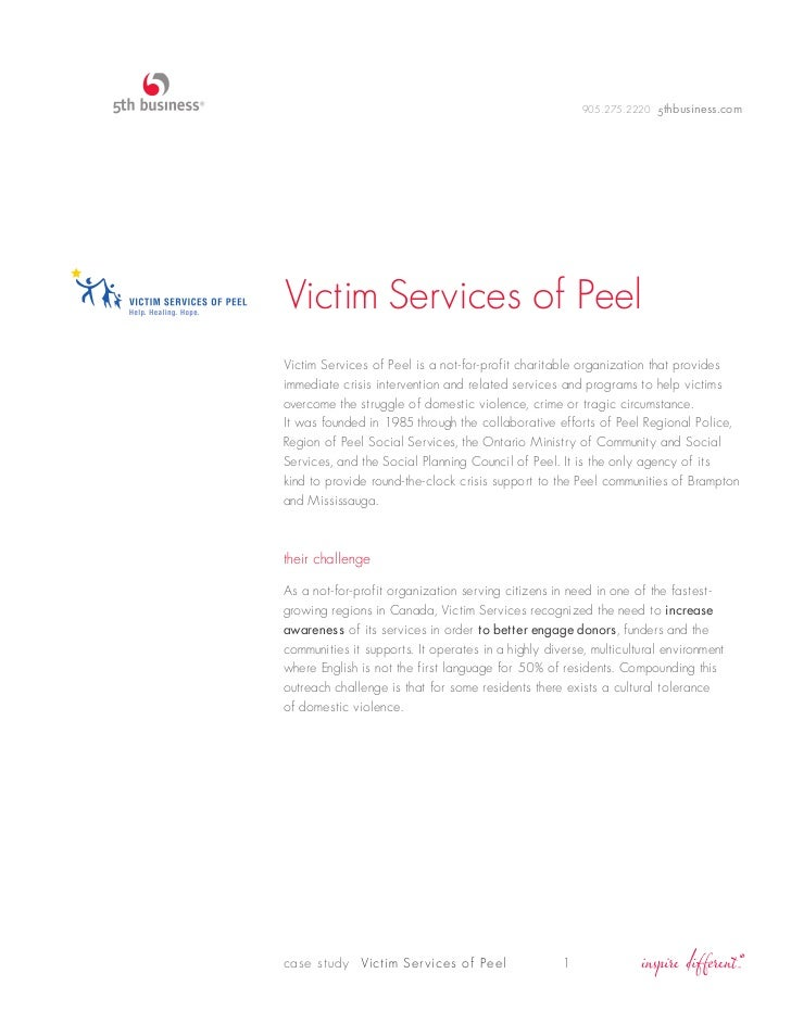 905.275.2220 5thbusiness.comVictim Services of PeelVictim Services of Peel is a not-for-profit charitable organization tha...
