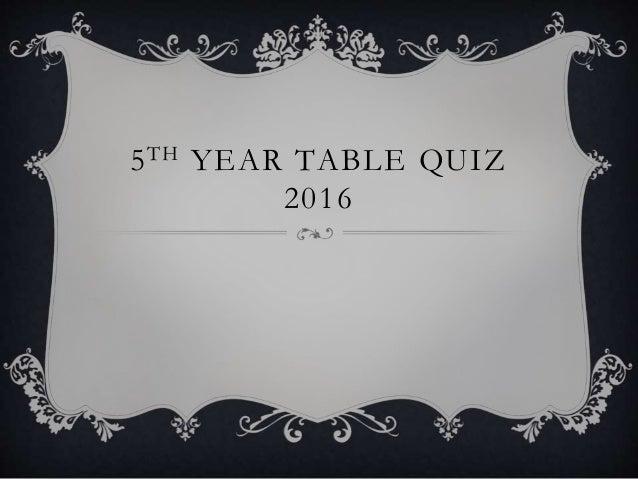 5TH YEAR TABLE QUIZ 2016
