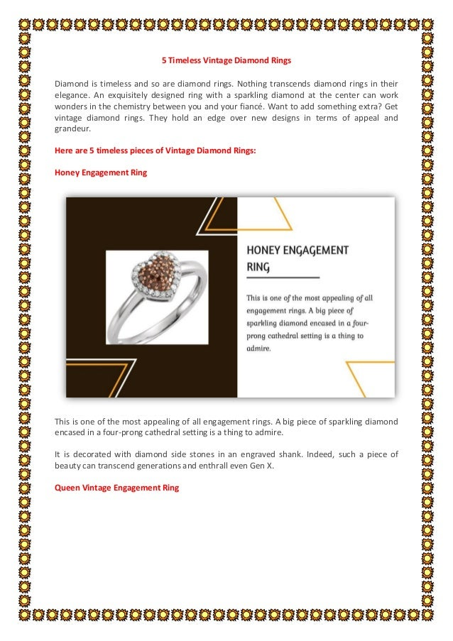 5 Timeless Vintage Diamond Rings Diamond is timeless and so are diamond rings. Nothing transcends diamond rings in their e...
