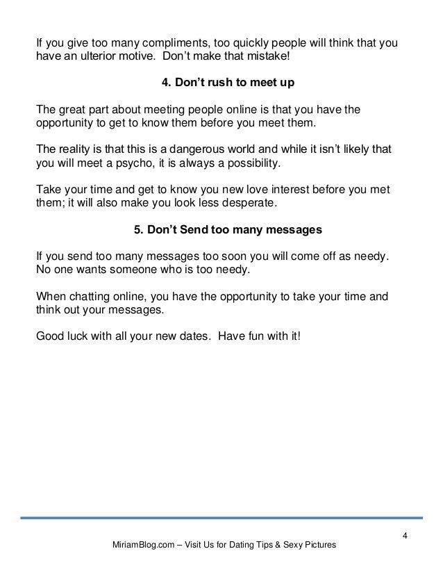 Tips for sending messages online dating