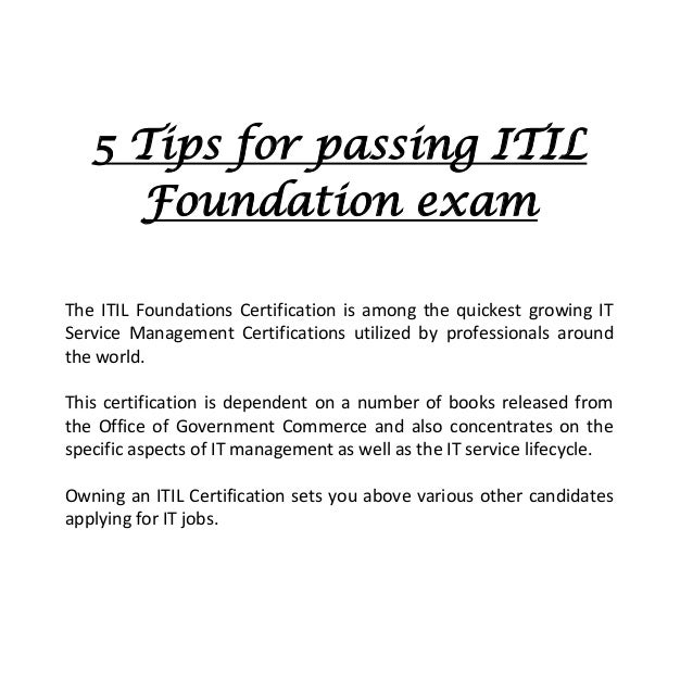 5 tips for passing itil foundation exam rh slideshare net foundations of reading study guide ct foundations of government study guide answers