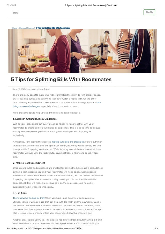 5 tips for splitting bills with roommates credit com