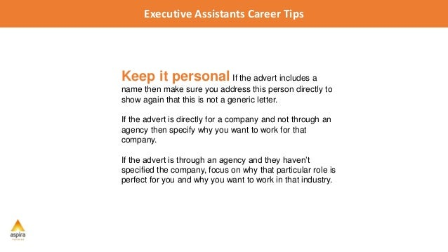 Number 4: Keep It Personal; 9. Executive Assistants ...  Personal Assistant Cover Letter