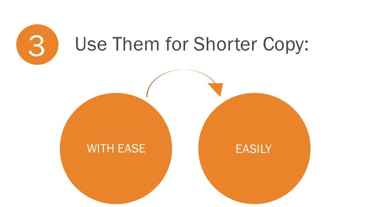 3   Use Them for Shorter Copy:     WITH EASE       EASILY