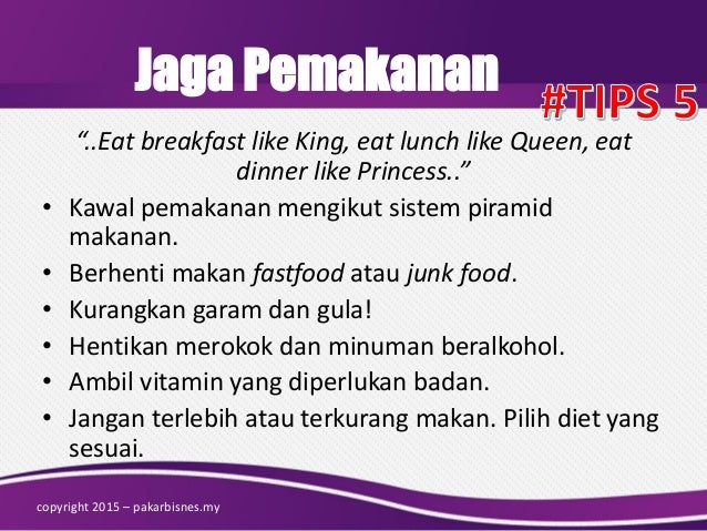 "Jaga Pemakanan ""..Eat breakfast like King, eat lunch like Queen, eat dinner like Princess.."" • Kawal pemakanan mengikut si..."
