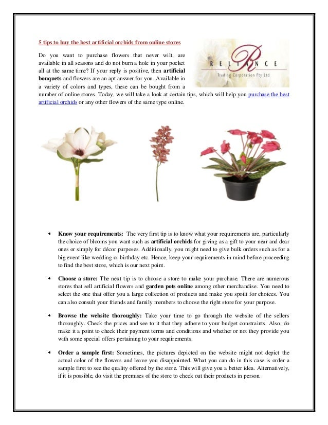5 tips to buy the best artificial orchids from online stores Do you want to purchase flowers that never wilt, are availabl...