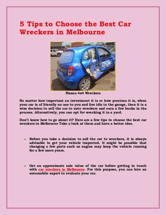 5 Tips To Choose The Best Car Wreckers In Melbourne