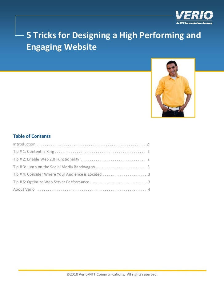 5 Tricks for Designing a High Performing and           Engaging WebsiteTable of ContentsIntroduction . . . . . . . . . . ....