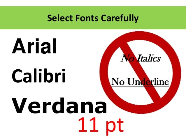resume fonts calibri