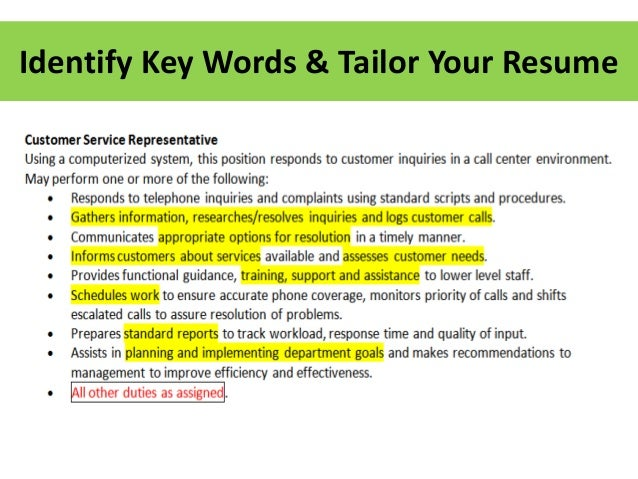 Identify Key Words & Tailor Your Resume ...