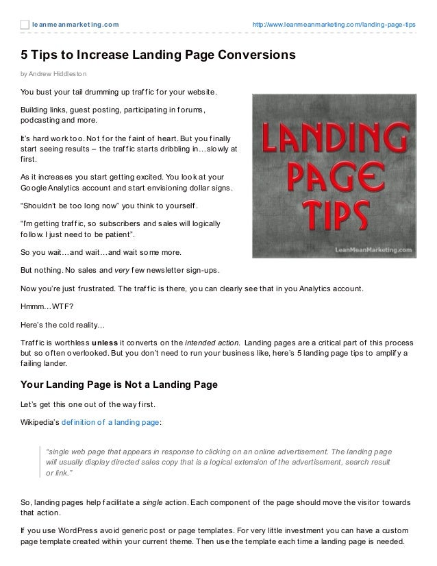 leanmeanmarket ing.com http://www.leanmeanmarketing.com/landing-page-tips5 Tips to Increase Landing Page Conversionsby And...