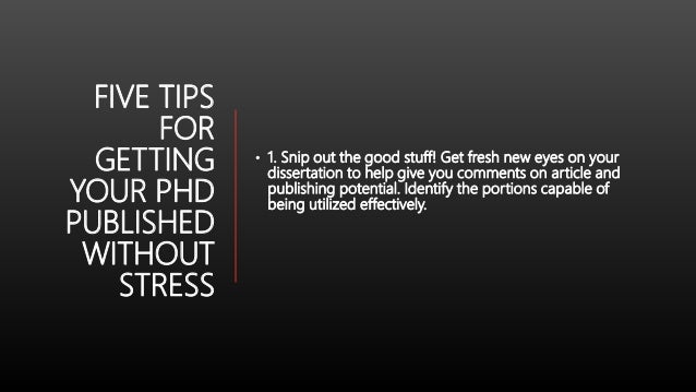 Publishing your phd dissertation