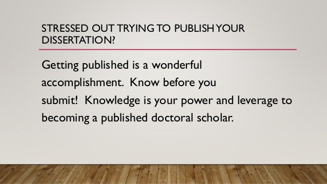 Getting your phd thesis published