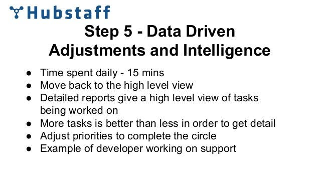 Step 5 - Data Driven Adjustments and Intelligence ● Time spent daily - 15 mins ● Move back to the high level view ● Detail...