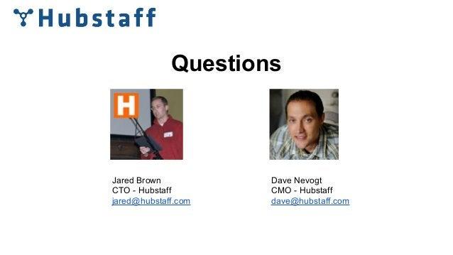 Questions Jared Brown CTO - Hubstaff jared@hubstaff.com Dave Nevogt CMO - Hubstaff dave@hubstaff.com