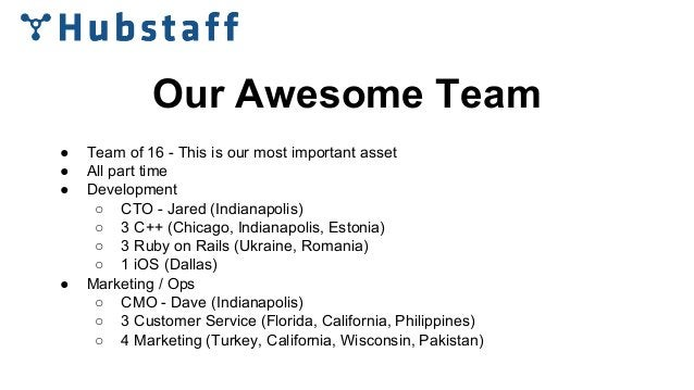 Our Awesome Team ● Team of 16 - This is our most important asset ● All part time ● Development ○ CTO - Jared (Indianapolis...